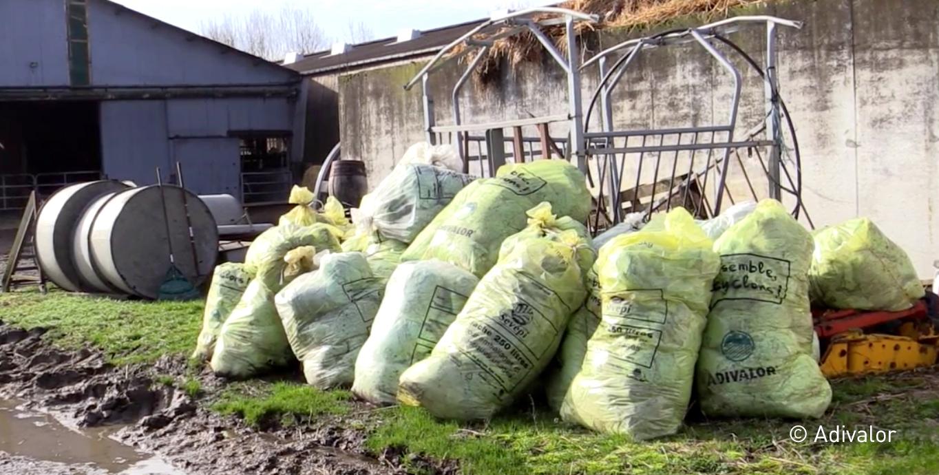 plastiques agricoles triés pour la collecte